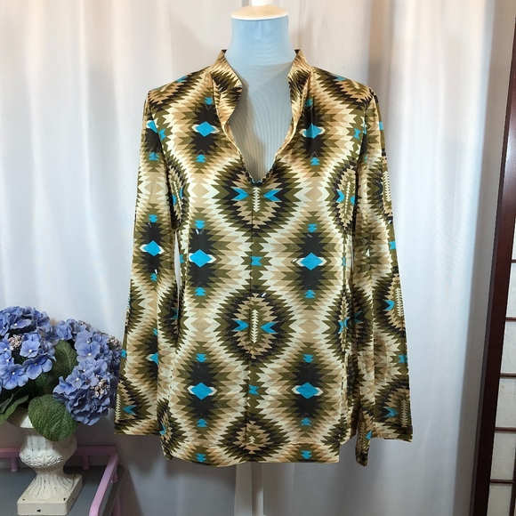 53baa3afb72 Tory Burch Stephanie Tunic Green Tribal Print, 8. M_5a650aee739d487e6c073eb9